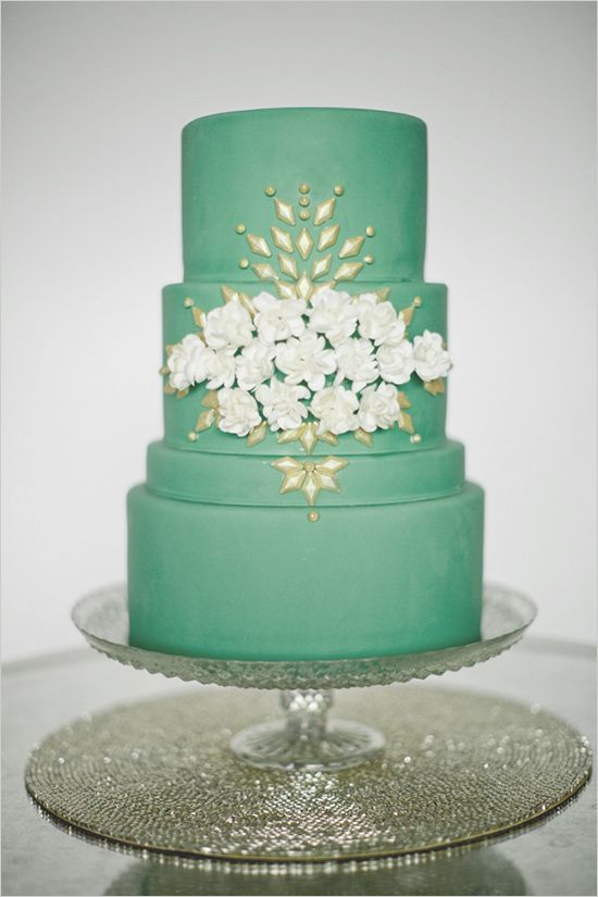 Gorgeous green wedding cake