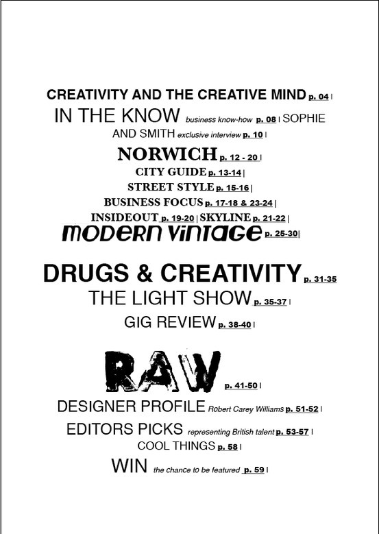 contents page mock up
