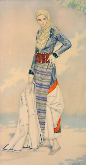 Nicolas Sperling drawing of the Megara folk dress SpeN1930-16-