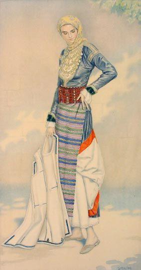 Nicolas Sperling drawing of the Megara folk dress SpeN1930-16-