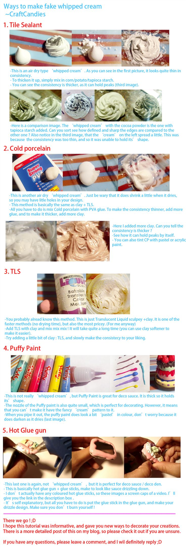 Polymer Clay : Whipped Cream alternatives by ~CraftCandies on deviantART, Using Tile Sealant, Cold Porcelain, TLS, Puffy Paint or Hot Glue Gun