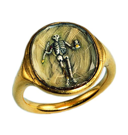Memento mori 16th/17th century- gold ring with enameled skeleton over hair.