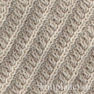 Наклонные рельефные полосы - Узоры спицами: наклонные рельефные полосы, как связать спицами, схема вязания