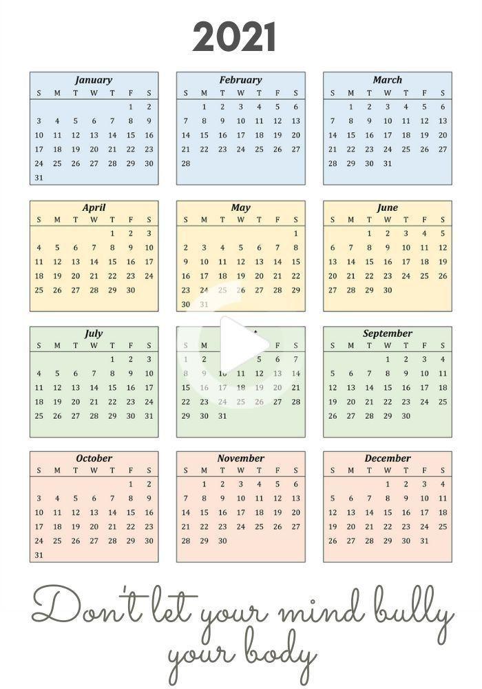 Motivational Calendar 2021 | Academic Calendar