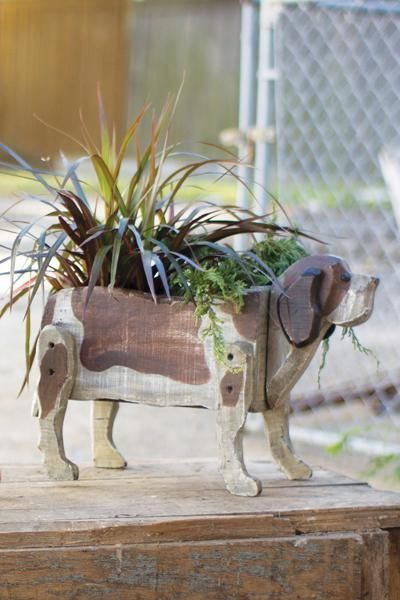 NEW! RECLAIMED WOOD DOG PLANTER RUSTIC ECLECTIC DECOR