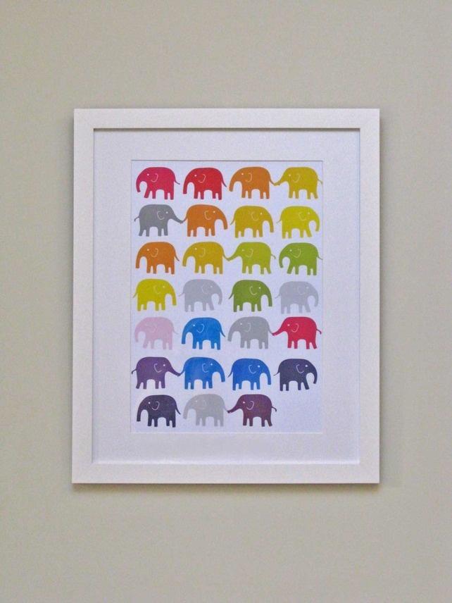 Rainbow Elephants Nursery Print via @folksy