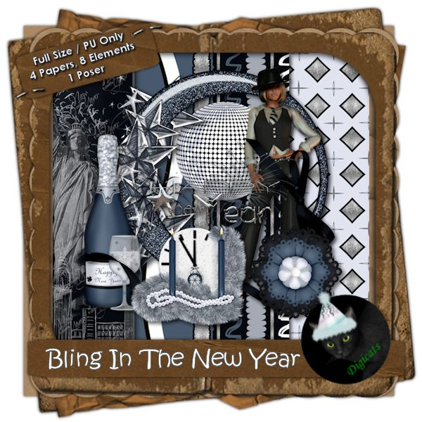 """Bling in the New Year (Full) - Bling in the New Year and bling up your layouts and projects with this sterling little mini-kit.  It comes with 4 (3600 x 3600 pixel) .jpg papers and 8 .png elements, plus one """"cuore di moda"""" poser by ©Digicats (& Dogs)  You are getting 1 frame, 1 happy new year word art, 1 mirrored ball, 1 champagne, 1 new year's clock, 1 ribbon, 1 star bling, and 1 paper flower.  300 DPI. Personal use only."""