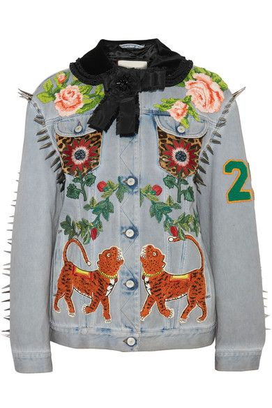 Gucci - Calf Hair-paneled Embellished Denim Jacket - Light denim - IT44