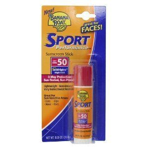 Banana Boat Sport Performance Sunscreen Stick SPF 50 by Banana Boat. Save 33 Off!. $3.99. Banana Boat Sport Performance Sunscreen Stick, SPF 5, .55 oz.. Banana Boat Sport PerformanceTM Stick with patented AvoTriplexTM technology protects in 3 ways: 1. Against sunburn with high UVB protection, 2. Against the effects of aging and long-term skin damage with high UVA protection, and 3. Lasts longer than ordinary sunscreens since it doesn't break down.  Features: Easy to use Lightwe...