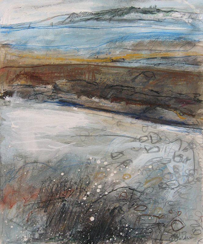 'Seaspray,-Newlyn-Beach',-gouache,-acrylic-and-watercolour-pencil-on-card,-29-x-25cm