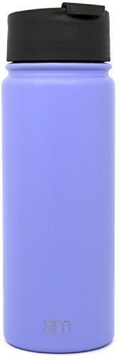 Simple Modern 18oz Summit Water Bottle  Extra Lid - Vacuum Insulated Stainless Steel Wide Mouth Hydro Travel Mug - Powder Coated Double-Walled Flask - Royal Raspberry