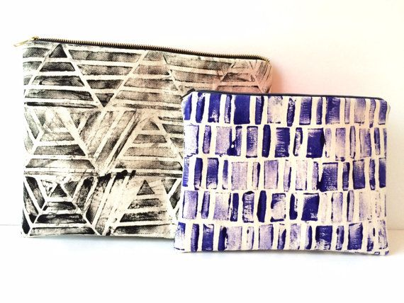 One of a Kind, Purple Hand Printed Clutch Periwinkle by CarrieJoanStudio on Etsy - made in Toronto Canada