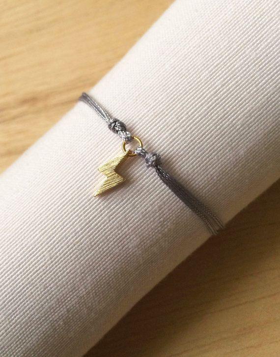 Lightning thread bracelet, gold ray cord bracelet, cotton thread simple bracelet, grey bracelet, slipknot, gold plated lightning, gold ray