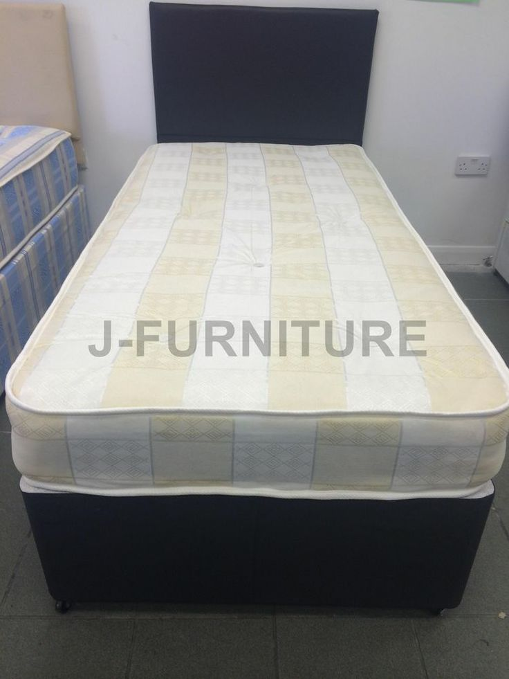 3ft Single Divan Bed With Stylish Black Base And 20cm Deep Soft Mattress