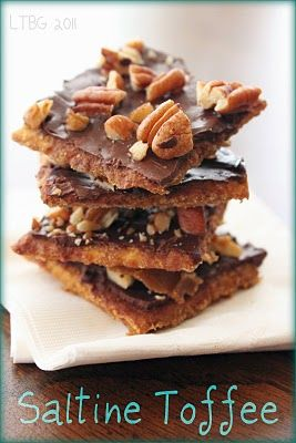 Crack Ups...So easy and delish!!! Butter, dark brown sugar, saltines, chocolate chip cookies, pecans!!!