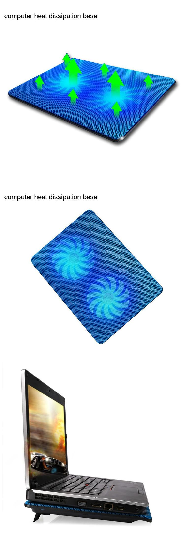 [Visit to Buy] Laptop Cooling Pads USB interface stand for laptop cooler notebook stand laptop cooling pad Two Quite fan Fixture for laptop #Advertisement
