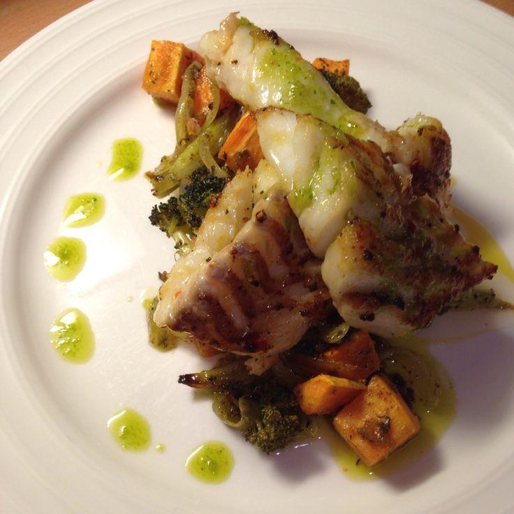 Fried cod and sweet potatoes
