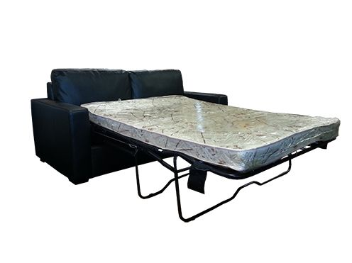 The Avenue Sofabed is available in Leather or Fabric options. The bed frame is constructed with steel frames and uses American made mechanisms. Easy operation and quality manufacturing makes this a great addition for your home. The mattress is a 4 inch inner sprung mattress  ( not foam ). and is supported with a trampoline base instead of slats.   Sofa Dimensions: 1880 wide x 880 High x 930 deep  In bed form it is 2300mm in length, The mattress is 1330 x 1800.