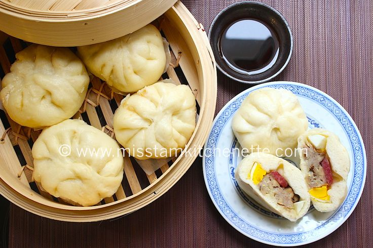 Banh bao (Brioche à la vapeur farcie au porc et aux champignons)