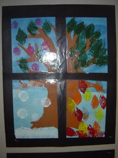 Mrs. T's First Grade Class: The Four Seasons-----Super cute idea for an art craft that displays the four different seasons!