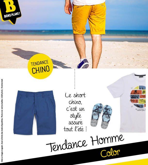 """Le short suit la tendance """"Chino"""" cet été ! Il adopte toutes les couleurs pour suivre vos envies..."""