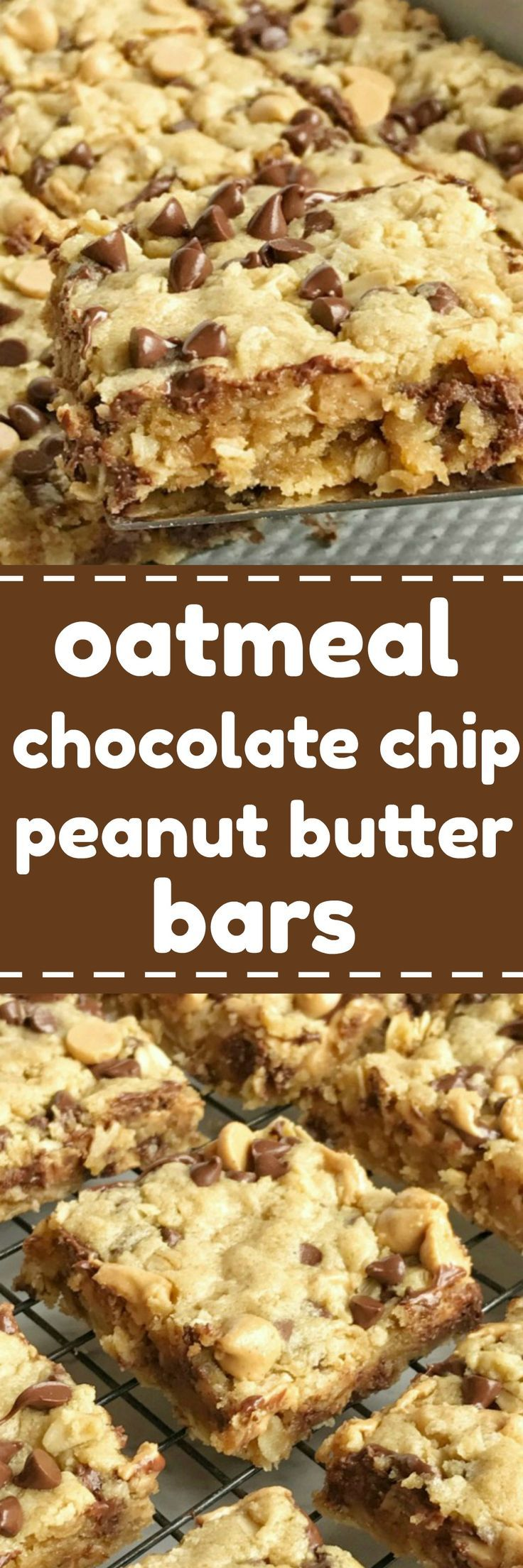 Oatmeal chocolate chip peanut butter bars are a family favorite dessert recipe that everyone loves. Soft cookie bars loaded with oatmeal, peanut butter, peanut butter chips, and chocolate chips. These are a peanut butter & chocolate lovers dream and they