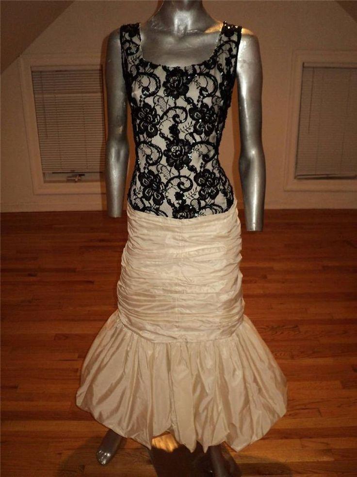 Vintage 1970 Haute Couture Bustle Gown Fishtail Paris sequin lace illusion Top #HandmadeCouture
