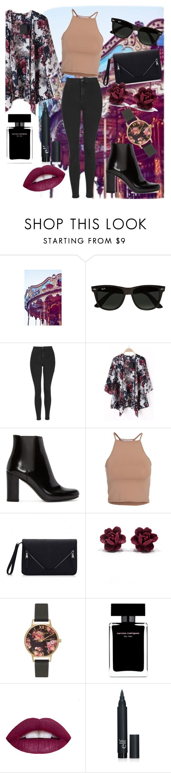 """""""Carnaval Date"""" by dianamaria267 ❤ liked on Polyvore featuring Ray-Ban, Topshop, Yves Saint Laurent, NLY Trend, Olivia Burton, Narciso Rodriguez, women's clothing, women, female and woman"""