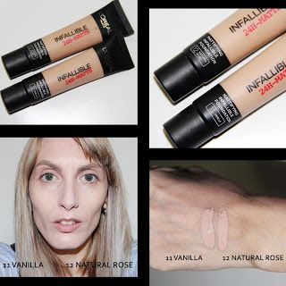 MichelaIsMyName: L'Oreal Infallible 11 Vanilla vs 12 Natural Rose