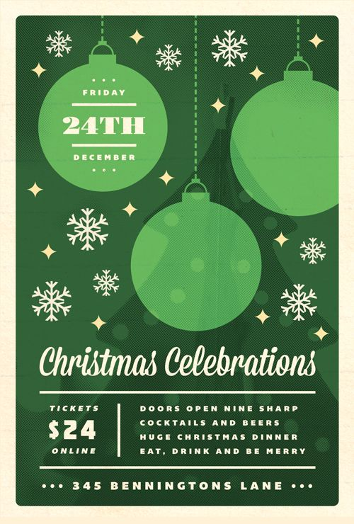 Christmas Poster Template. Creative Christmas Party Club Poster ...