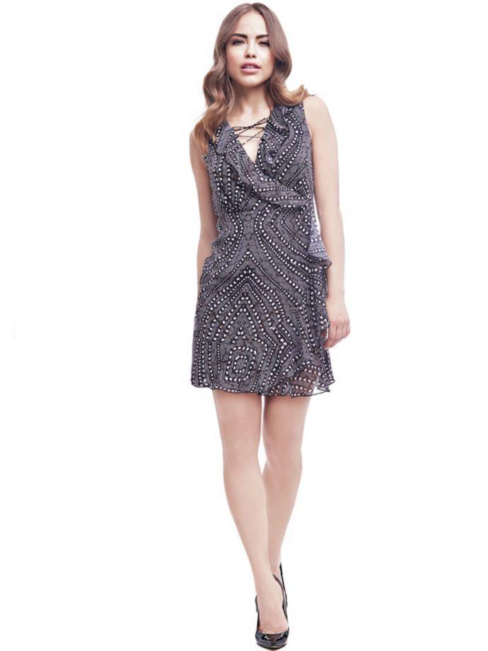 EUR119.90$  Buy here - http://vijmk.justgood.pw/vig/item.php?t=e9ow8j55418 - PRINTED DRESS WITH FLOUNCES