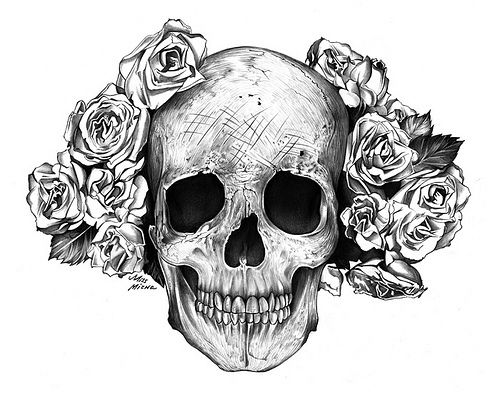 skull and roses tattoo design                                                                                                                                                     More
