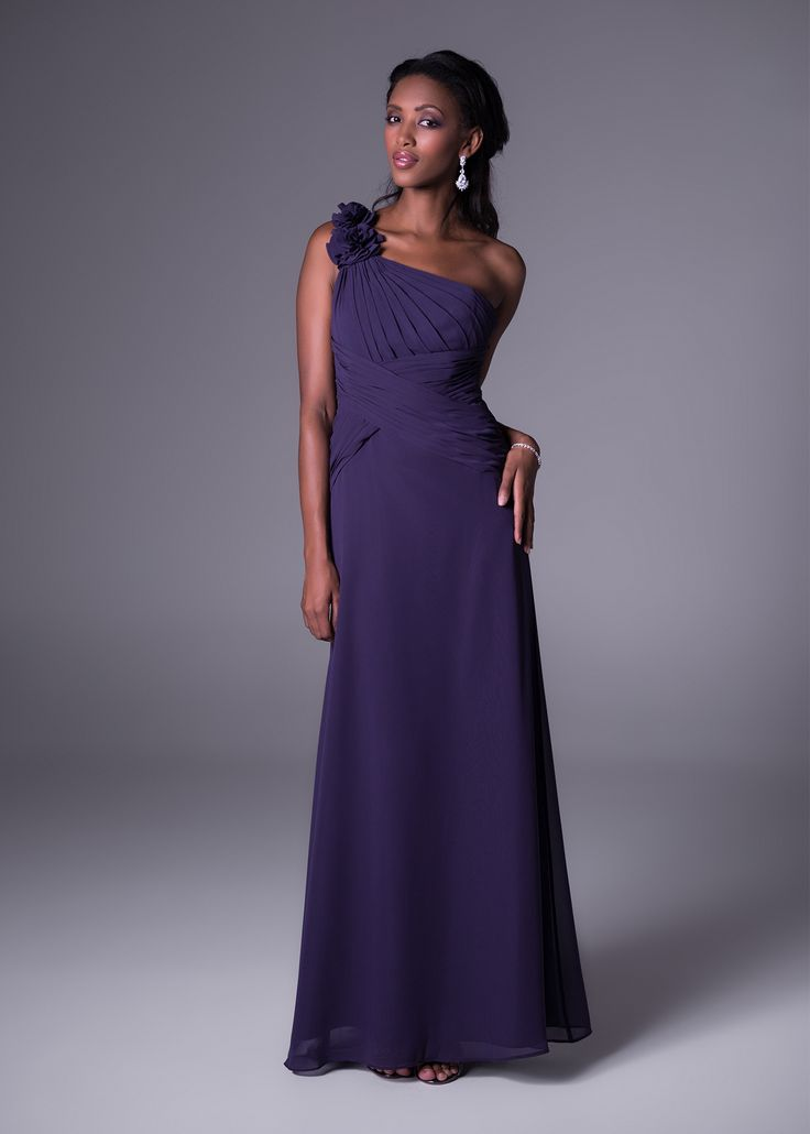 One-shoulder bridesmaid's dress with floral detail<b>To order only</b>