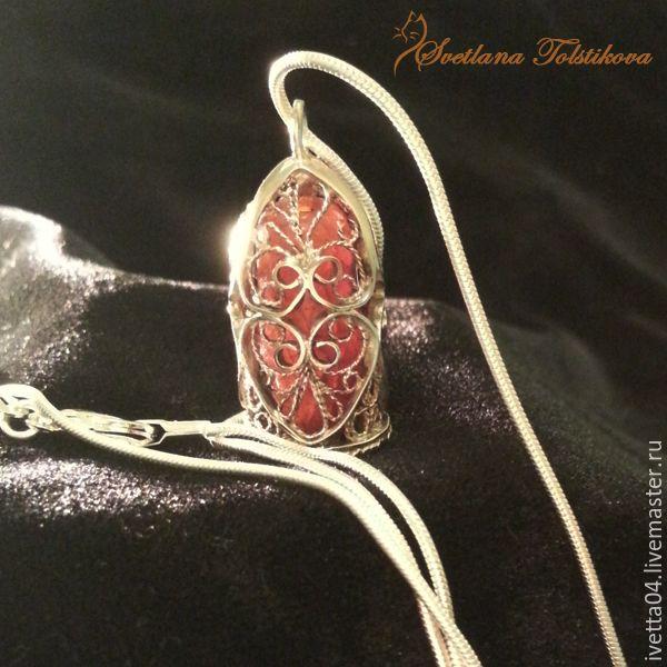 """Кулон-капсула """"Исполнение желаний"""" с сердоликом - рыжий, кулон с камнем, Кулон ручной работы  в технике филигрань. filigree jewelry"""