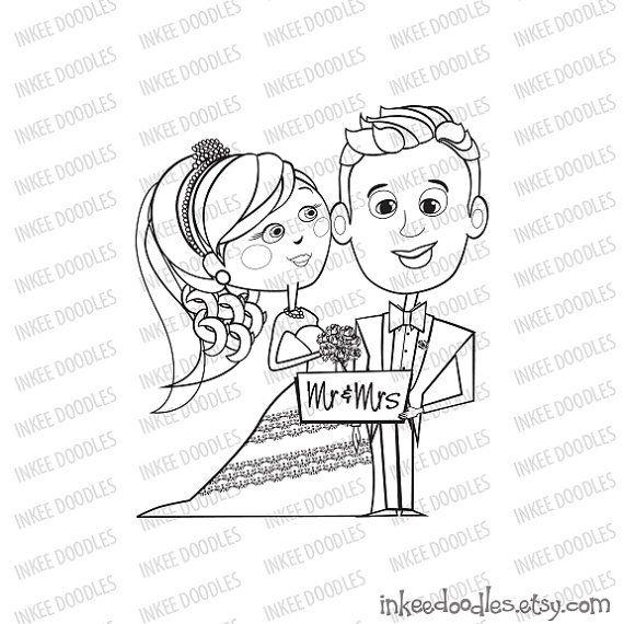 Bride Groom Bridal Party Digital Stamps DIY Wedding Card Clip Art by InkeeDoodles, part of a set of 16 piece clipart set, $6.00, #Bride #Groom #Bridal #Party #Digital #Stamps #DIY #Wedding #Card #Clip #Art