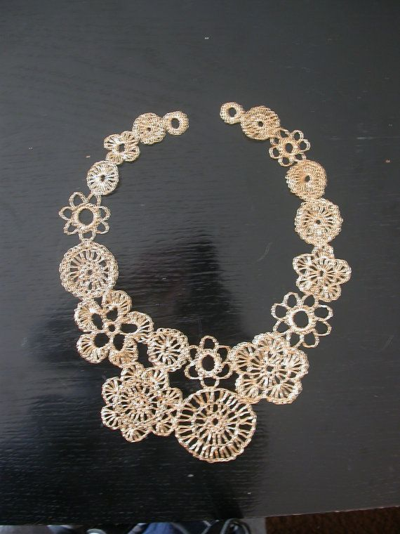 Asymmetrical crocheted wire necklace gold color by LoopyMagpie