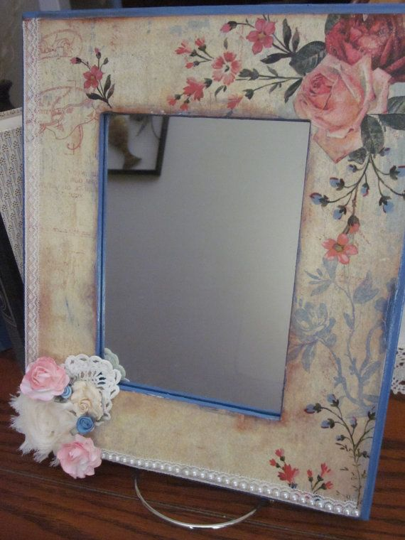 Shabby Chic Vintage Decoupaged Wood Mirror by VintageCreationsbycw, $30.00