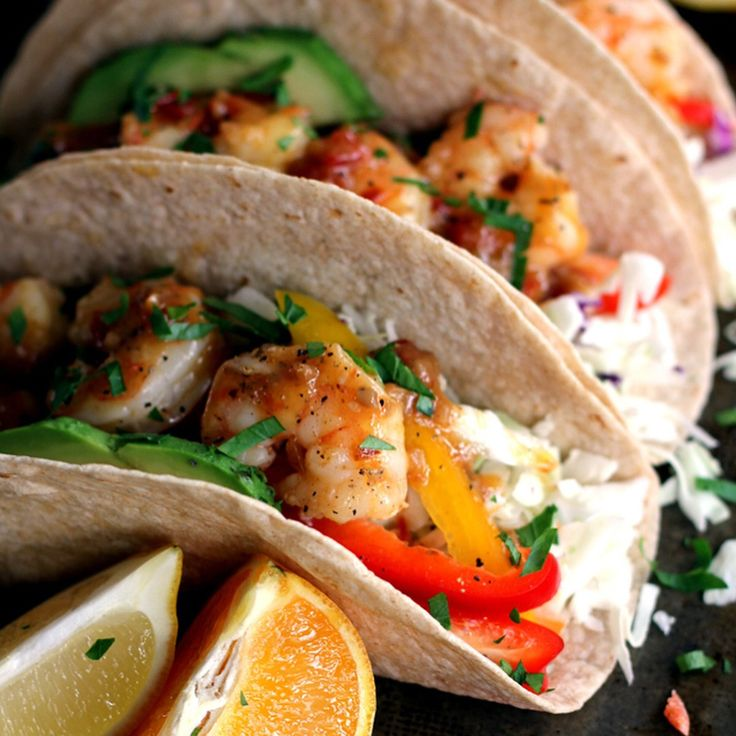"""""""Rosemary Citrus Shrimp Tacos By @melaniemakes 2 tablespoons olive oil 1 pound shrimp, peeled and deveined and tails removed 12.4 ounces Robert Rothschild…"""""""