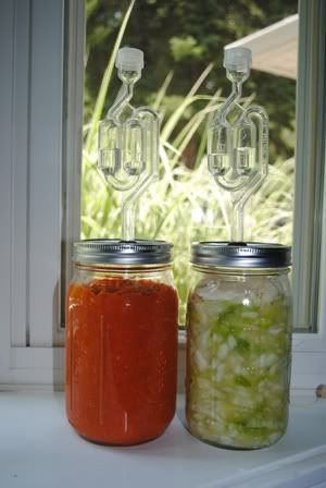 DIY lacto-fermentation: Fun Recipes, Canning Jars, Lactof Pickled, Veggies Fermented, Diy Airlock, Fruit And Veggies, Fruits And Vegetables, Mason Jars, Fruit And Vegetables