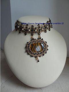 Czółenko i nitka: Dusik z jaspisem i perłami