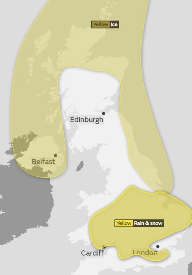 Map of weather warnings