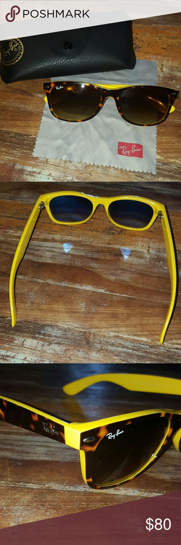 Yellow Ray-Bans Wayfarer Yellow/Tortoise Shell Frame Ray-Bans, Wayfarer style. Unisex. I have a large size head & they fit tad bit big. No scratches on lenses. Great condition! Comes with case & wipe! Ray-Ban Accessories Sunglasses
