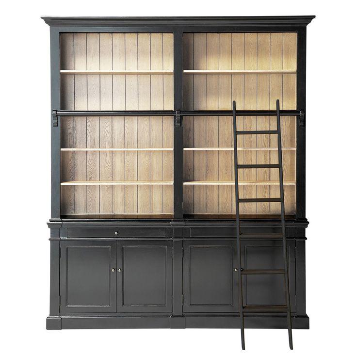 Bibliothèque avec échelle en bois massif noire L 201 cm