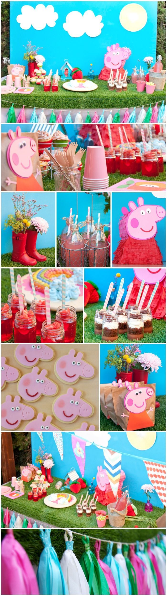 Peppa Pig Party  - love the pink lemonade and flowers in wellies!