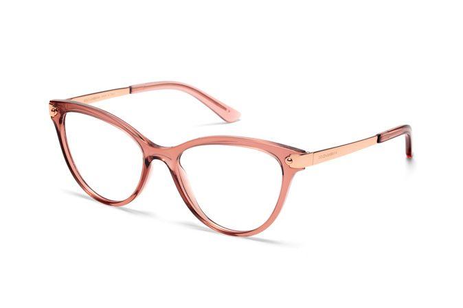 Women S Transparent Pink Cat Eye Eyeglasses Dg5042 With Images