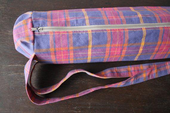 tartan YOGA MAT BAG eco-friendly fabric with zipper by lapayoga