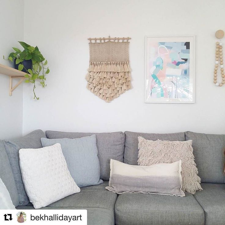 Loving this pic by @bekhallidayart with one of our wall hangings and her gorgeous artwork looking beautiful side by side -  @bekhallidayart with @repostapp  Lounging  around at home today with my little fam..and its been great.  . . . Playing around with my Stillness print cuz I love it! Use code SUMMER20 and grab 20% OFF all prints and originals online at http://ift.tt/1PH7QVc  . . . #sharemystyle #homestyling #bedroomdecor #interiorstyling #decorating #mynordicroom #nordichome #beachhouse…