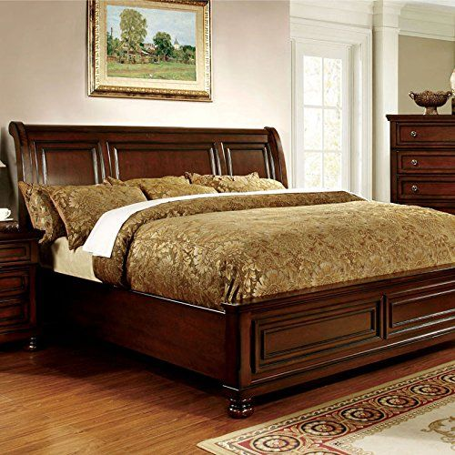 Northville Traditional Elegant Style Cherry Finish Eastern King Size Bed  Frame Set