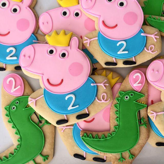 .Oh Sugar Events Peppa Pig cookies George dragon