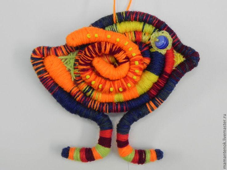 Купить птичка - невеличка - рыжий, птичка, декоративная подвеска, декор для интерьера, проволочный каркас, пряжа